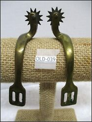 1800's Civil War Solid Brass Officers Riding Horse Spurs With Iron Blood Rowells