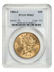 1903-s 20 Pcgs Ms62 - Liberty Double Eagle - Gold Coin