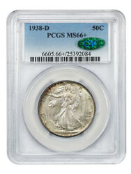 1938-d 50c Pcgs/cac Ms66+ Low Mintage Issue - Walking Liberty Half Dollar