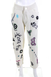 Barrie Womens Cashmere Embroidered Crystal Knit Pants Cream White Size Medium
