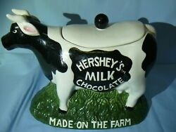 Hershey's Chocolate Town Ceramic Cookie Jar Holstein Cow Made On The Farm