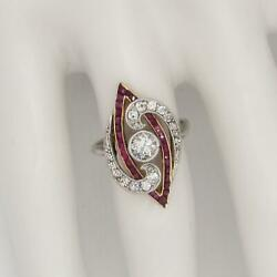 Vintage Art Deco Platinum Top 14k Ruby And .65ct T.w Diamond Ring