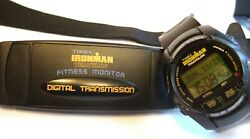Rare Vintage Timex Ironman Triathlon Fitness Heart Rate Watch With Chest Strap