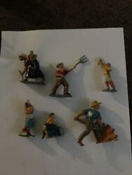 Lot Of 6 Vintage Cast Iron And Lead Farm Figures France And Other Brands
