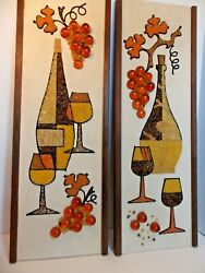 Vvtg 2 Lucite Amber Grape And Pebble Gravel Wine Glasses And Decanter Wall Art 24