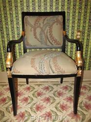 Ethan Allen Dolphin Federal Black With Gold Trim Upholstered Arm Chair 7110