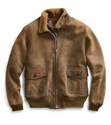 2400 Rrl Large Bomber Jacket Leather Aviator Shearling Polo Rugby