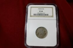 1925-s United States Buffalo Nickel, Ngc Graded Vf20,  Old U.s. Five Cent Coin