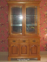 Tell City Chair Co. Sunlit Oak China Cabinet Full Glass Lighted With Mirror Back