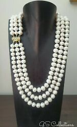 Aaa+ 3 Strands Natural Akoya Pearl Necklace In 14 K Clasp.elegant