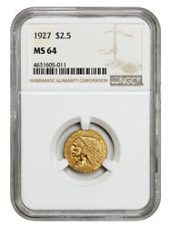 1927 2 1/2 Ngc Ms64 - Great Type Coin - 2.50 Indian Gold Coin - Great Type Coin