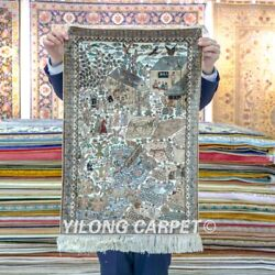 Yilong 1.6and039x2.4and039 400line Handknotted Rug Acient Life Tapestry Silk Carpet 125h