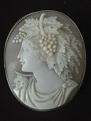 Rare Large Exquisitely Antique Bacchanalian Procession Cameo Goddess Brooch