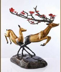 23and039and039 Classical Bronze Crafts Home Decorate Statue Good Fortune Pair Sika Deer
