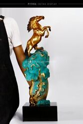 29'' Classical Bronze Crafts Home Decorate Statue Chinese Cabbage Wealth Horse