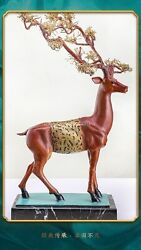 32and039and039 Classical Bronze Crafts Home Decorate Statue Fortune Blessing Wealth Deer