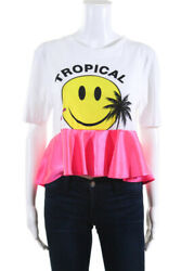 Filles A Papa Womens White Tropical Smiley Face With Pink Graphic Tee Size 2