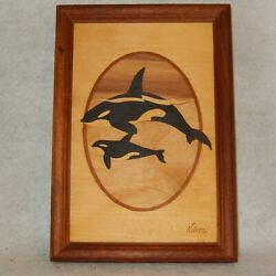 Signed Jeff Nelson Hudson River Inlay Wood Marquetry Picture Orcas Killer Whale