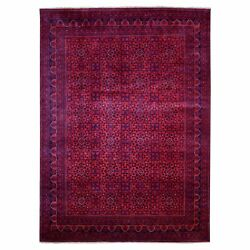 8'2x11'1 Saturated Red With Navy Afghan Khamyab Wool Hand Knotted Rug G67787