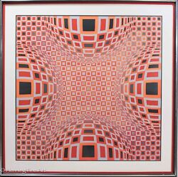 Rare Victor Vasarely Hand Signed Artist Proof Four Globes In Red Fine And Rare