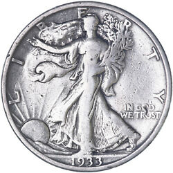 1933 S Walking Liberty Half Dollar 90 Silver Fine Fn Cleaned See Pics H082