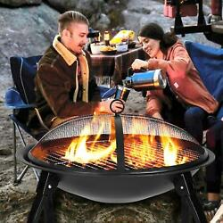 32 Wood Burning Fire Pit Outdoor Garden Patio Bbq Grill Stove W/cover Fire Fork