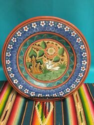 """Vtg Signed Mexican Folk Art Tonala Mexico Pottery Charger 12"""" Plate Wall Hanging"""