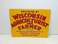 Wisconsin Agriculturist And Farmer Farm Agricultural Embossed Vintage Old Sign