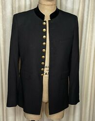 Ysl Saint Laurent Military Officer Jacket Black Wool Crepe Gold Buttons Xs S