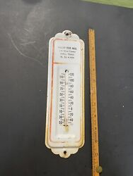 Vintage Original Valley Feed Mill Paris Texas Metal Advertising Thermometer Sign