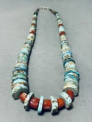 One Of The Best Vintage Navajo Turquoise Disc Coral Sterling Silver Necklace