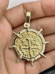 14kt Solid Gold Atocha Coin Pendant In 14kt Solid Gold Ship's Wheel Bezel