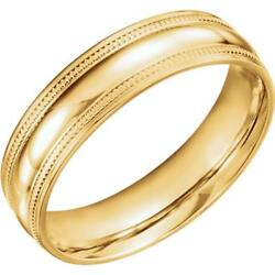 14k Yellow Gold Coin Edge Style Comfort Fit Wedding Band