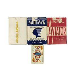 3 Vintage Playing Cards Mohawk Aviator Alaska Airlines And 1 Western Pub Mini Deck