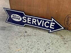 Ford Service Arrow Large Double Sided Porcelain Sign 48x 13 Near Mint