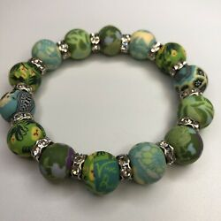 Viva Beads Stretch Bracelet Crystal Spacer Green Yellow Clay Beads