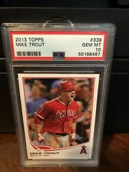 2013 Topps Mike Trout Al Rookie Of The Year Baseball Card 338 Psa 10 Gem Mint