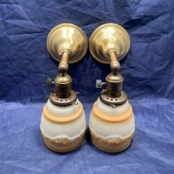 Pair Early Electric Brass Sconces W/ Shades Rewired Lights 122c