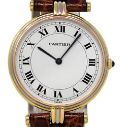 Vendome 30mm Tri-color Rose White Yellow Gold Leather 1yrwty I3048