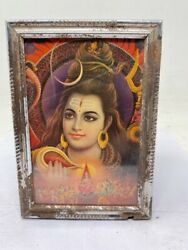 Old Vintage Lithograph Print Of Hindu Religious Divine God Shiva Frame 7 X 5