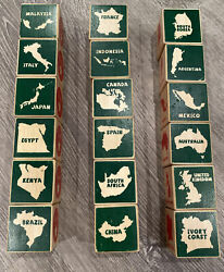 Vintage Wooden Toy Blocks 18 Total W/ Countries Capitals Native Animals Etc.
