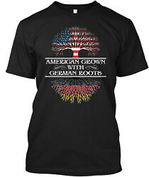 Teespring American Grown With German Roots Classic T Shirt 100% Cotton