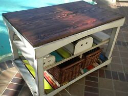 Handcrafted Farmhouse/cottage Kitchen Island On Wheels