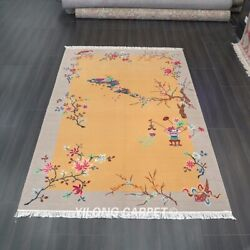 Yilong 6and039x9and039 Traditional Handmade Chinese Art Deco Wool Rug Yellow Carpets