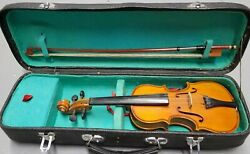Very Old Small Vintage Antique Violin Fiddle Cello Case And Bow