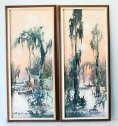 Set Of 2 Colette Pope Heldner Oil Paintings Swamp Idyll Louisiana Bayou Country