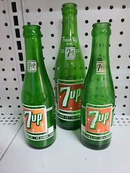 Lot Of 3 Vintage 1960s 7up Bottles 7 Bubbles On Each Soda Collectibles