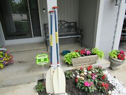 Vintage Rare Pair Of Seda With Epoxy Vaulting Pole Construction Canoeing Oars