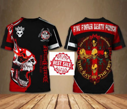 Five Finger Death Punch Band Full Over Print, T-shirt Music Tee Black Polyester