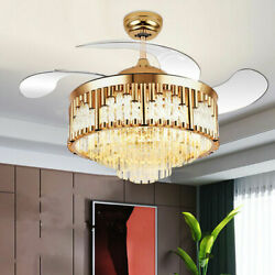 42 Remote Control Led Chandelier Invisible Ceiling Fan Lamp Luxury Crystal Gold